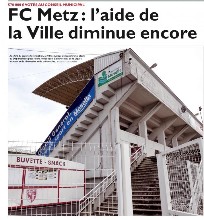 Conseil Municipal du 26 mai 2016 – Diminution de 43% de la subvention versée au centre de formation du FC Metz