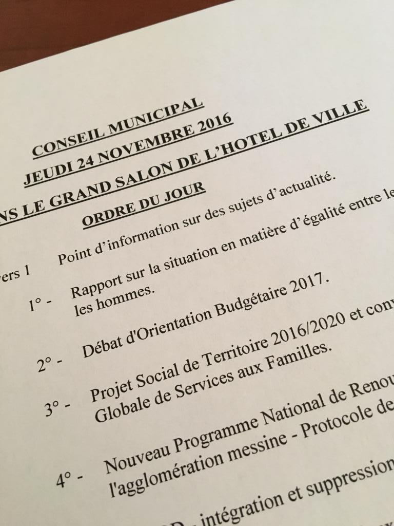 Conseil municipal du 24/11/16 – Débat d'Orientation Budgétaire