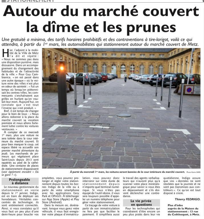 Conseil municipal du 23/02/17 – Fin du stationnement dans la cour du marché couvert