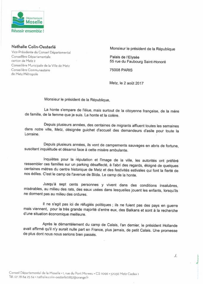 Metz – Camp de migrants à Blida : ma lettre au président de la République