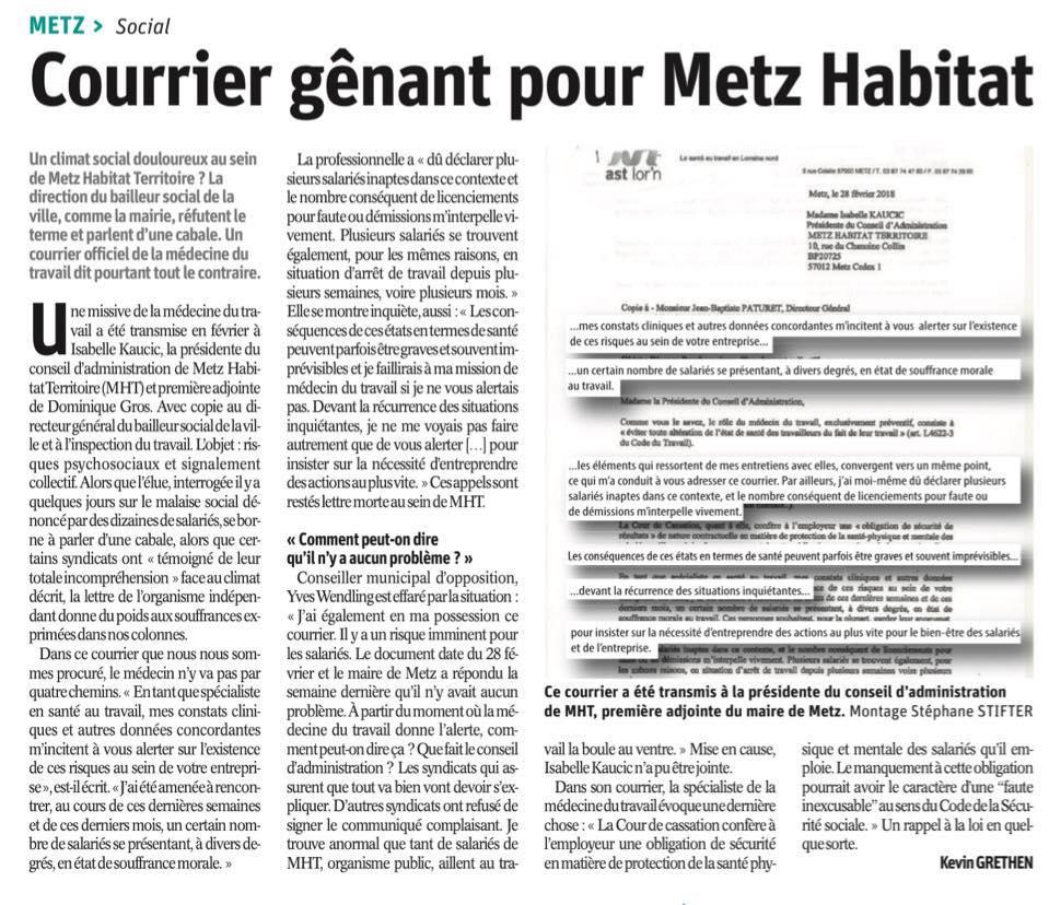 Intervention au conseil municipal du 05 juillet 2018 – Gestion des ressources humaines de la Ville de Metz – Metz Habitat Territoire
