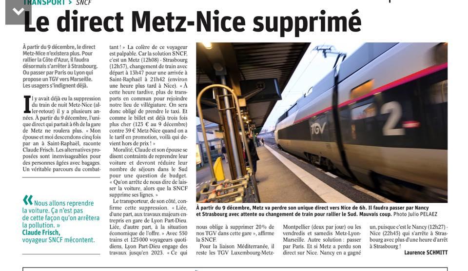 La suppression de la liaison ferroviaire directe Metz-Nice : une décision scandaleuse !