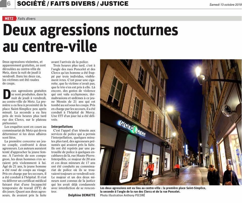 Communiqué de presse – Agressions à Metz